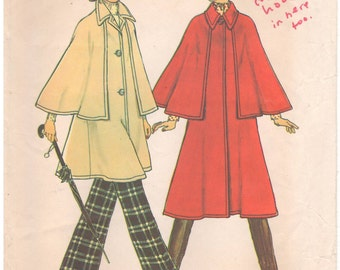 1975 - Simplicity 7163 Vintage Sewing Pattern Size Small 8/10 Simple To Sew Unlined Cape Jacket Button Down