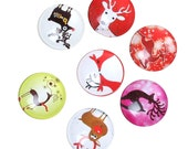 8 Christmas Cabochons - 20mm - Glass Dome Seals Cabochons - Round - Assorted - Flat Back - Ships IMMEDIATELY from California - C299
