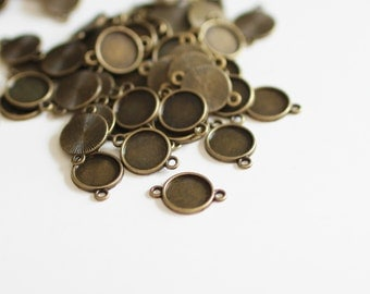 25 Bronze Cabochon Connector Tray Settings -  Holds 12mm - 21x15mm - Ships IMMEDIATELY from California - BC795