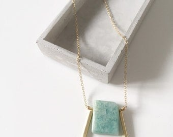Angular Stone Slab Necklace in Amazonite or Lapis Lazuli