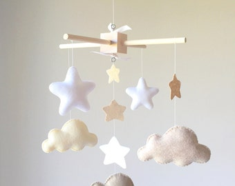 Baby Crib Mobile - Baby mobile - Neutral mobile - Baby Mobile clouds - clouds ans stars mobile