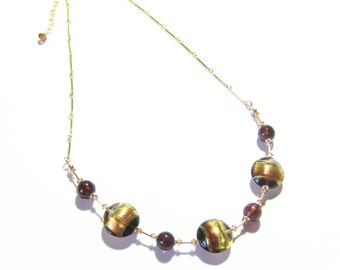 Murano Glass Brown Gold Disc Chain Necklace, Gold Filled, Venetian Glass Jewelry, Italian Glass Necklace, Gifts For Her,