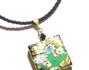 Murano Glass Black Millefiori Square Pendant, Venetian Necklace, Italian Jewelry, Pendant With Gold Filled Chain, Gifts For Her