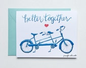 Better Together bike card love wedding watercolor greeting card