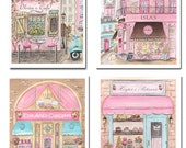 Prints for little girl room, Set of 4 Personalized Girl Nursery Wall Art, Pink Travel Theme Posters And Prints For Baby, Unframed, 6 Sizes
