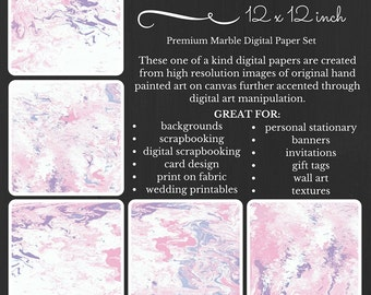 Pink Waves Premium Digital Paper Pack Marble Pink and White Printable Digital Paper Download Scrapbooking Paper Abstract Design