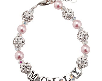 Personalized Name Bracelet for toddler,  Girls and Baby Sterling Silver, Crystal and Pearl, Personalized Custom (B107-p)