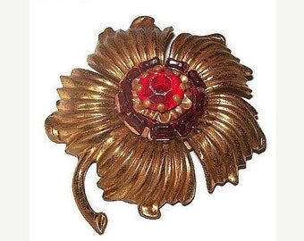 "Art Deco Red Flower Brooch Rhinestone Gold Brass Metal 2.5"" Vintage 1940s"