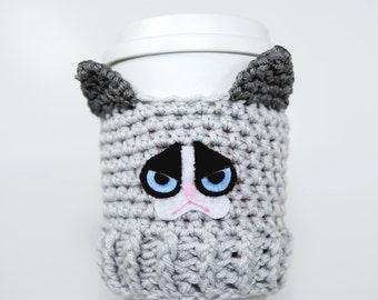 Grumpy Cat Coffee Cup Cozy-Coffee Cup sleeve-Grey-Cat Coffee Cup Cozy-Christmas Gift-White Elephant Gift-Birthday Gift-Kitchen Decor-Geek