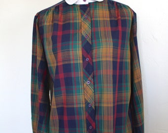 80's Plaid School Girl Blouse with Peter Pan Collar