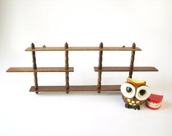 Vintage petite mid century wood curio wall shelf