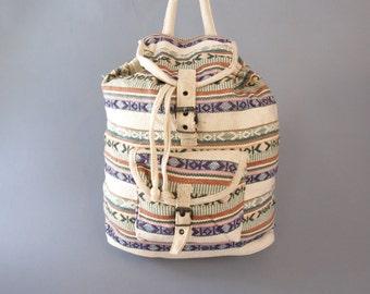 Vintage 90s ethnic tribal kilim woven fabric Navajo backpack overnight bag