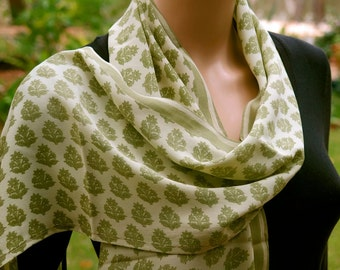 Green Summer Scarf, Silk scarf