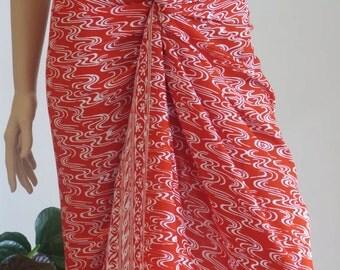 Red Sarong, Swimsuit cover up, Beach Sarong, Pareo