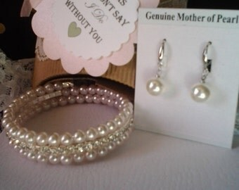 5 sets Bridesmaid Bracelet and  Fresh Water Pearl earrings  Vintaged Gift wrapped ItemBB001