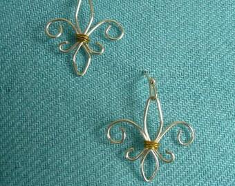 Fleur de Lis Earrings handmade silver wire wrapped