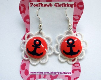 Anchor Lace Dangle Earrings - Nautical, Sailor, Rockabilly, Psychobilly, Punk, Pirate - Poofhawk