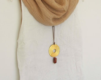 Long Necklace Pendant, Gold Circle Necklace, Stone Jewerly, Adjustable Length Necklace, Golden Plated