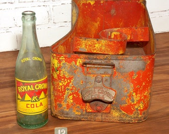 Vintage Royal Crown Cola Stadium Vendor Carrier, Embossed RC Logo Bottle Top Opener, RC Metal Cooler, Holds RC Glass Bottles, Original Paint