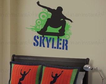 Skateboard Wall Decal | Skater Wall Sticker | Teen, Kid's or Children's  Wall Decor 046