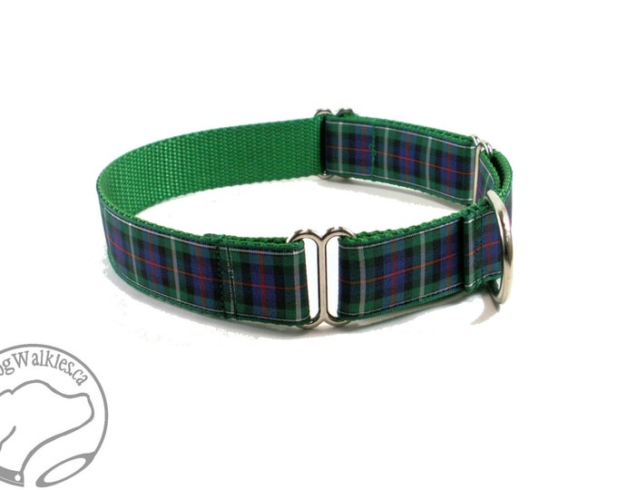 """Featured listing image: MacKenzie Tartan Dog Collar / 1"""" (25mm) Wide / Plaid Dog Collar / Quick Side Release or Martingale / Choice of collar style and size"""