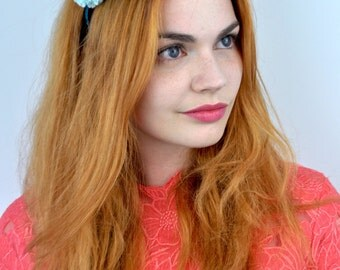 Pom Pom Headband in Shades of Blue