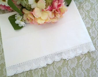 Snowy White Single Vintage Pillowcase w White Crocheted Trim, Cannon Feather lite Percale, Vintage Linens by TheSweetBasiShoppe