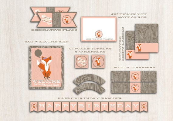 Fox Party Pack in PINK - Fox Birthday Party - Fox party package printables