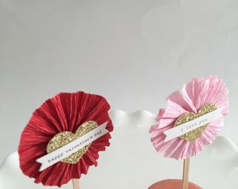 Valentine Heart Party Pick | Heart Cupcake Toppers | Valentine's Day Decorations | Pink and Red Valentine Decor | Set of 8 | Ready to Ship