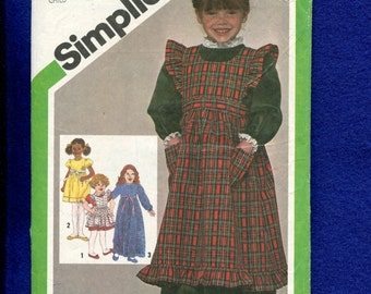 Vintage 1980's Simplicity 9818 Prairie Chic Ruffled Pinafore & Puff Sleeve Dress for Girls  Size 4