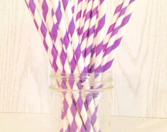 Purple Striped Paper Straws - Party Straws - Paper Straws - Purple Straws - Striped Straws
