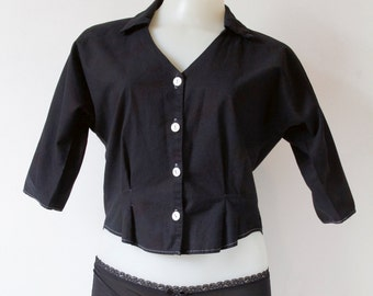 Vintage Black Colared Shirt with Black Cut Out Detail
