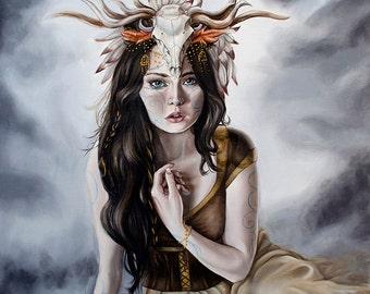 Druid Goddess Girl with Skull Headdress Celtic Stormy Skies A3 Art Print