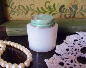 Ponds Cold Cream Jar, Antique Milk Glass Face Cream Jar