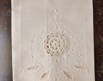 Beige Madeira Hand Towel with Crocheted Panel, French Linen Towel with Embroidery