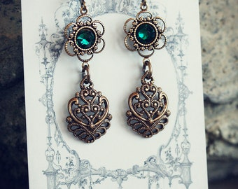 EMERALD BIJOU Earrings Victorian Bridal Crystal Emerald Earrings, Heirloom Renaissance Gothic Bridal Earrings, Custom Options Available