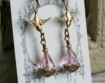 LOVE BIRDS Victorian Bridal Rosaline Pink Crystal Earrings, Bird Heirloom Renaissance Art Nouveau Earrings, Custom Options Available
