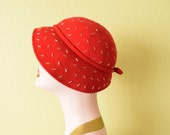 Vintage c. 1950's Red Wool Hat with Silver Studs