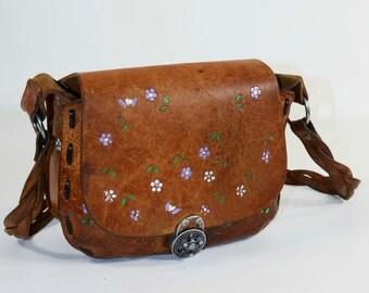 Vintage Tooled Leather Hand Painted Boho Hippie Leather Bag, 60s Shoulder Bag Satchel, Braided Strap Inscribed Melodi Festival Bag