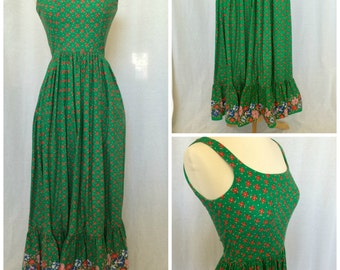 70's Maxi Floral Dress // Green Sleeveless // XS