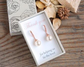 Rose Gold Bridesmaid Earrings Pearl Bridesmaid Jewelry Swarovski Pearls Cubic Zirconia Bridesmaid Gift Wedding Jewelry Bridal Party K041RG