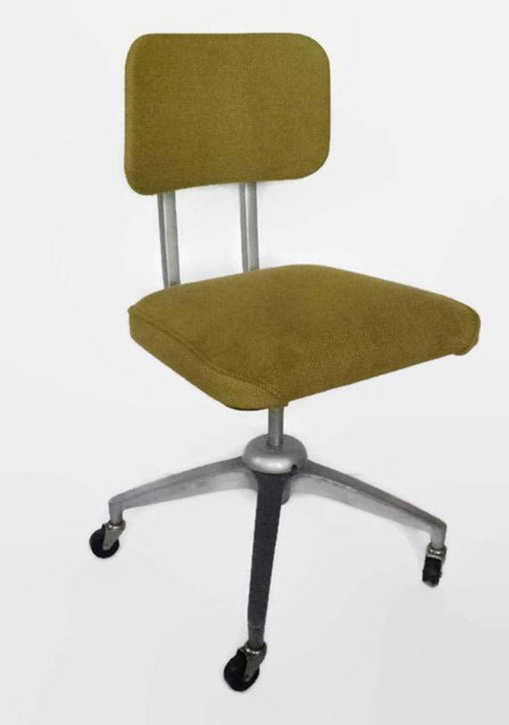 Mid Century Metal fice Desk Chair Swivel Wheels Vintage
