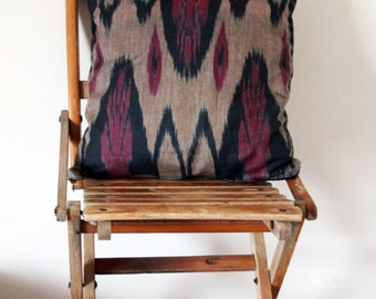 Indoor Ikat Pillows - earthy tones - ethnic home decor - Uzbek handmade Ikat fabric cushion covers - 14x14 - Ready to ship and made to order