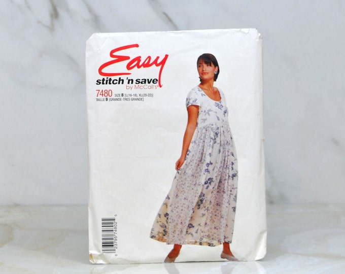 Vintage McCalls Easy Stitch n Save Complete Cut Pattern 7480 1995 Misses Dress Cut To Large 6 Pattern Piece With Instructions - Sewing