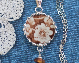 Necklace, Broken China Jewelry, Broken China Necklace, Calico Brown, Sterling Silver, Soldered Jewelry