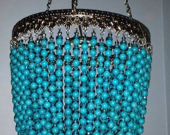 SALE! One Of A Kind Turquoise and Glass Bead Artisan Chandelier