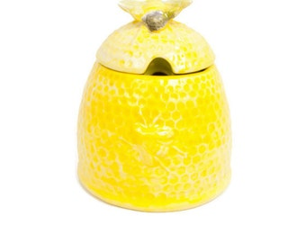 Vintage Yellow Beehive Honey Pot Lidded Sugar Bowl Jam Jar Ceramic Bumble Bee Arnels Pottery