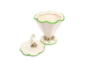 Vintage Umbrella Candy Dish Applied Flowers Trinket Jar Ivory Parasol Sugar Bowl California Pottery Hand Painted