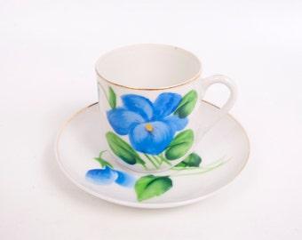Vintage Murray Kreiss Demitasse Teacup Saucer Hand Painted Blue Floral M K Design Registered Japan Tea Cup Set
