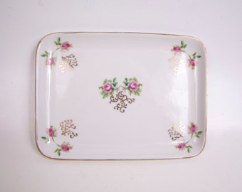 Vintage IRICE Japan Rose Motif Vanity Tray Hand Painted Pink Roses Dresser Decor Perfume Bottle Tray Rectangle Ceramic Tray